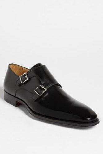 Handmade Mens Black Dress Formal Leather Shoes With Monk Shoes For Men