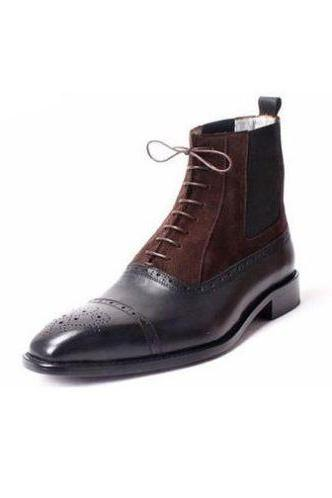 Handmade Mens Brown Suede Shelsea Leather Boot With Two Tone Black Calf For Men
