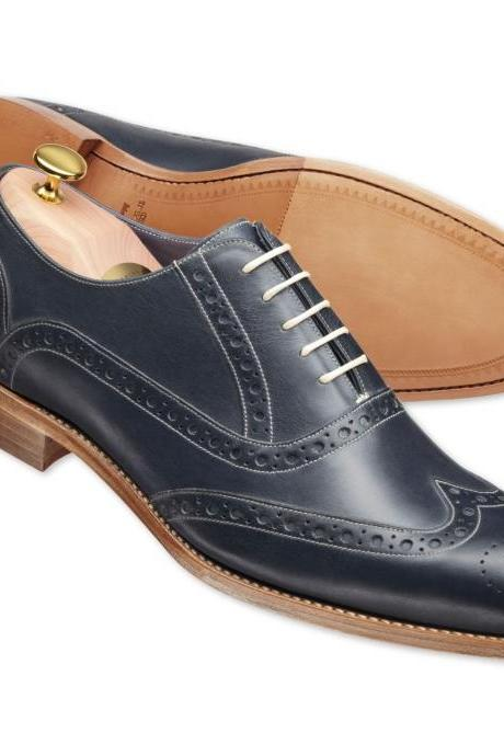 Handmade Mens Black Formal Brogue Wing Tig Goodyear Welted Sole Leather Shoes