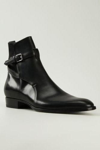 Handmade Mens Black Fashion Ankle Leather Boots With High Ankal For Men