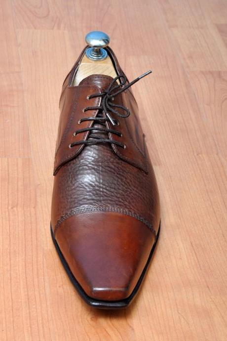 Handmade Mens Fashion Brown Formal Oxford Dress Leather Shoes For Men