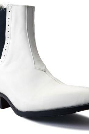 Handmade Mens WHITE GENUINE LEATHER CUBAN HEEL BOOTS
