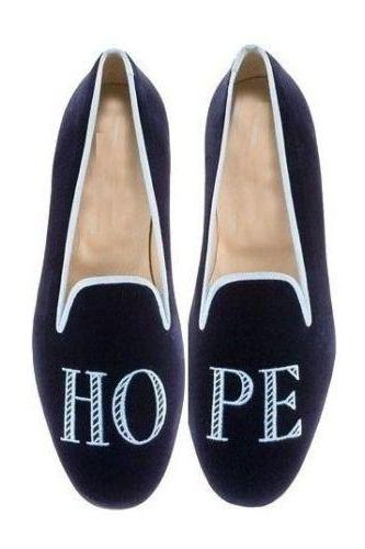 Handmade Mens Navy Blue Hope Embroidered Casual Velvet Slippers