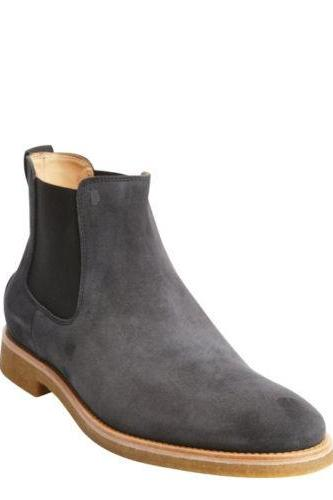 Handmade Mens Dark Gray Chelsea Suede Leather Boot With Crepe Sole