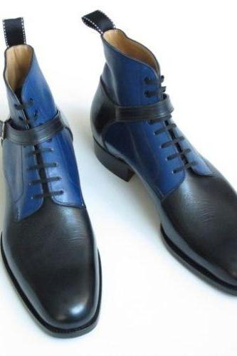 Handmade Mens BLACK AND BLUE WRAP BELTED LEATHER BOOT