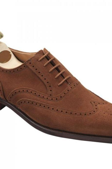 Handmade Mens Fashion Brown Oxford Wingtip Suede Formal Leather Shoes