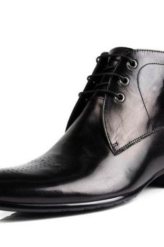Handmade Mens Derby Black Lace-Up Dress Leather Boots With High Ankle
