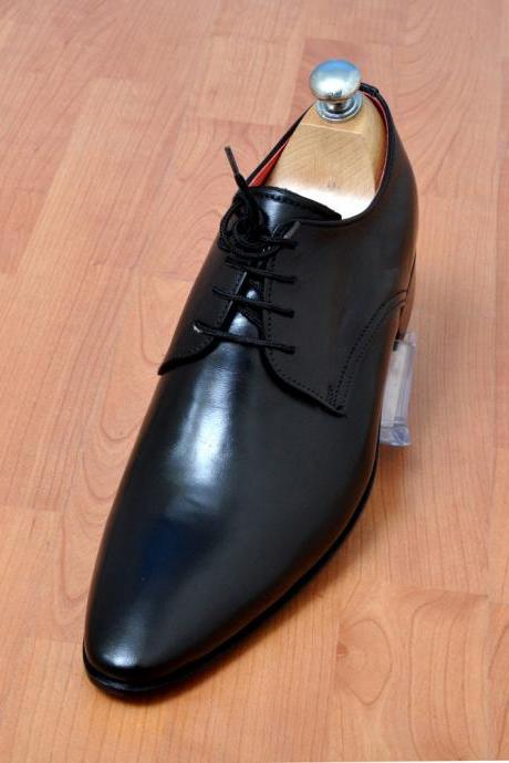Handmade Mens Fashion Black Laceup Plain Derby Leather Shoes