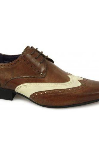 Handmade Mens Brogue Brown And White Leather Formal Leather Shoes For Men