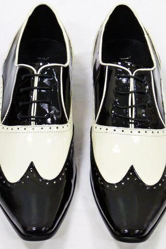 Handmade Mens BROGUE BLACK AND WHITE LEATHER SHOES FOR MEN
