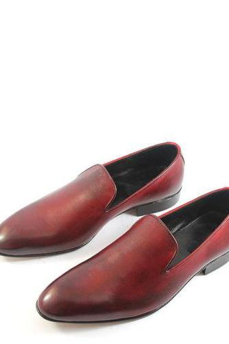 Handmade Mens Brown Formal Dress Loafers Leather Shoes For Men
