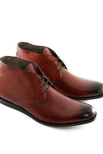 Handmade Mens Formal Chukka Leather Boots With Ankle For Men