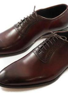 Handmade Mens Brown Formal Lace Up Leather Shoes For Men