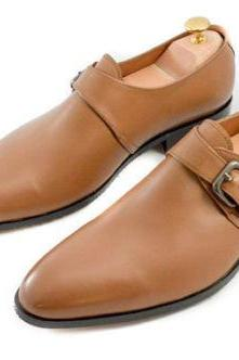 Handmade Brown Formal Monk Strap Leather Shoes For Men