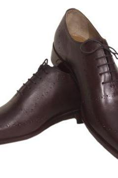 Handmade Mens Brown Color lace up Leather Dress Shoes with handmade Leather Sole For Men