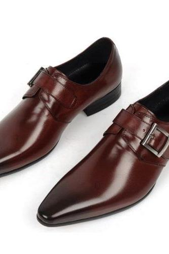 Handmade Mens Brown Color Fashion Leather Dress shoes with Buckle Strape For Men