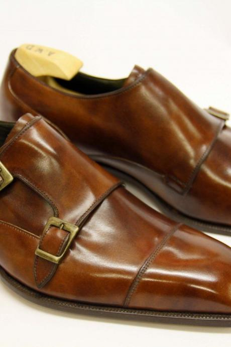 Handmade Mens Brown Double Buckle Leather Dress Shoes, Formal Shoes For Men