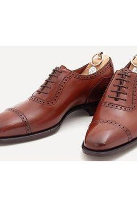Handmade Mens Brown Color Dress Shoes Real Leather Sole Shoes With Ankle