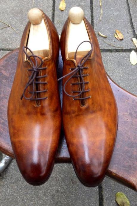 Handmade Mens Oxferd Brown Color Dress Real Leather Sole Shoes With Laces