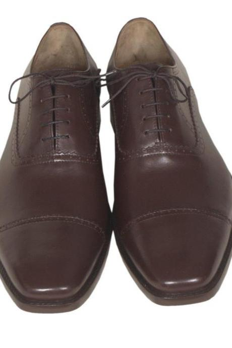 Handmade Mens Oxferd Brown Color Dress Real Leather Sole Shoes With Ankle