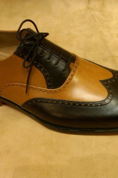 Handmade Mens Oxferd Black & Brown Color Dress Real Leather Shoes With Laces