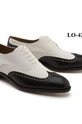 Handmade Mens Oxferd Black & White Color Dress Real Leather Shoes With Laces
