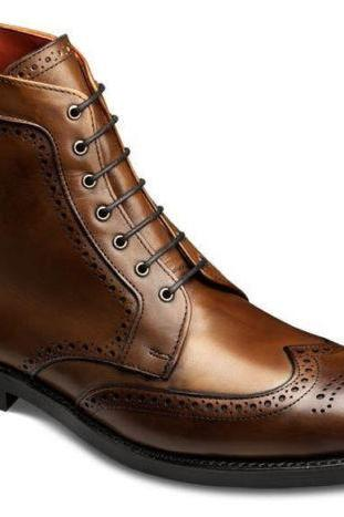 Handmade Mens Oxferd Brown Color Pure Leather Stuff Boots With Laces & Ankle