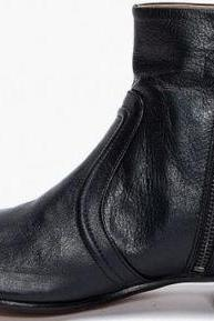 Handmade Mens Oxferd Black Color Leather Sole Boots With Side Zipper