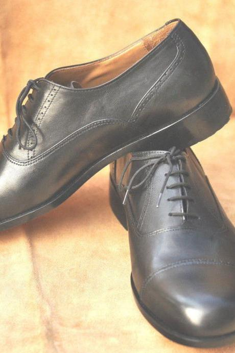 Handmade Mens Derby Brown Color Leather Sole Dress Shoes With Broad Toe