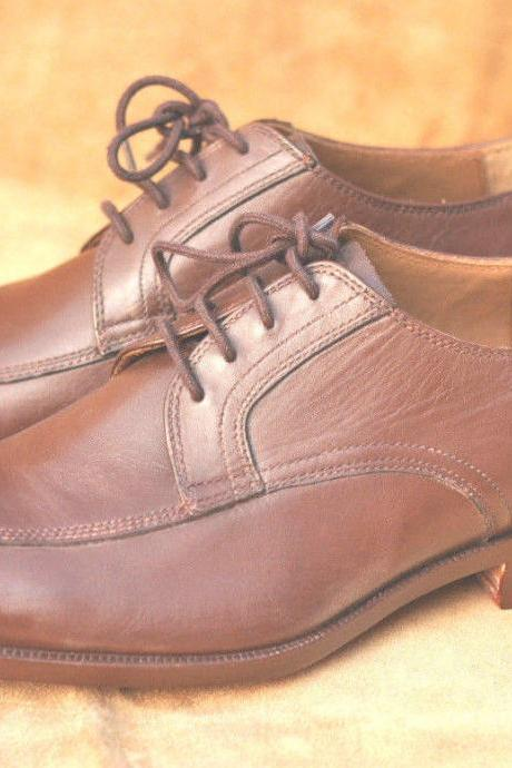 Handmade Mens Oxferd Brown Derby Leather Dress Shoes With Laces For Men