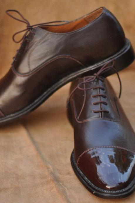 Handmade Mens Oxferd Brown Color Beautiful Pure Leather Dress Shoes With Laces