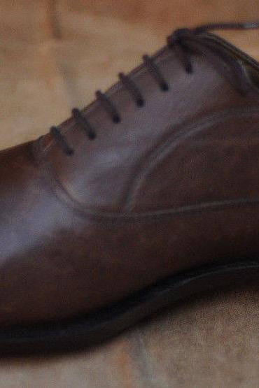 Handmade Mens Oxferd Brown Color Pure Leather Sole Dress Shoes With Laces