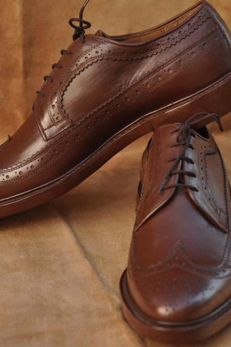 Handmade Mens Oxferd Brown Color Pure Leather Fashion Dress Shoes With Laces