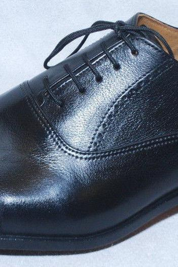 Handmade Mens Oxferd Black Color Leather Sole Fashion Dress Shoes With Laces