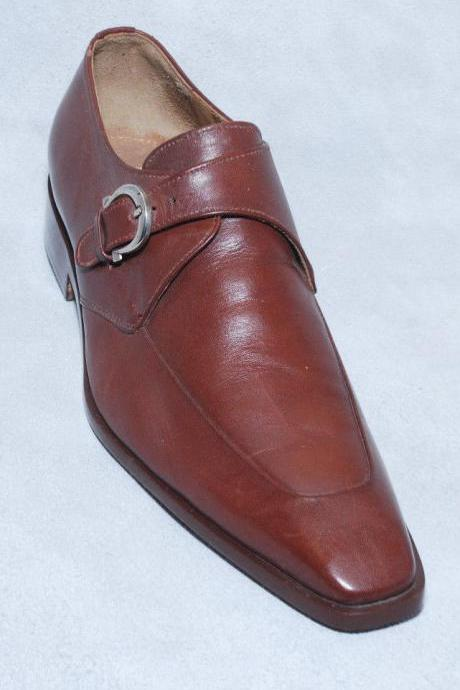 Handmade Mens Brown Leather Monk Shoes, Brown Monk Shoes FOR Gents