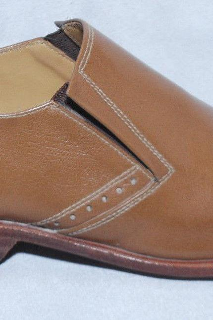 Handmade Mens Brown Color Pure Leather Loafer Slippers Shoes