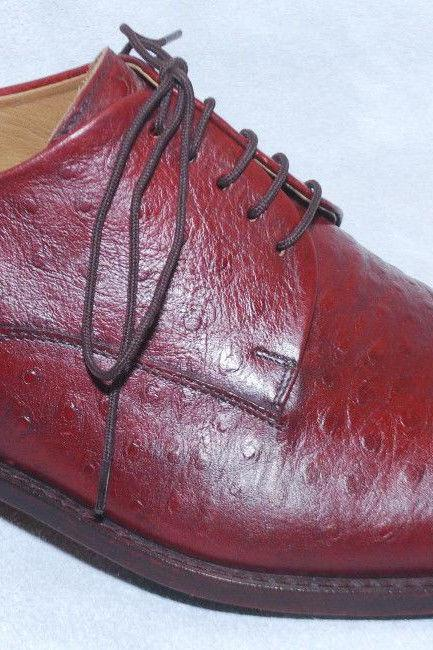 Handmade For Mens Red Color Pure Leather Sole Dress Shoes With Ankle