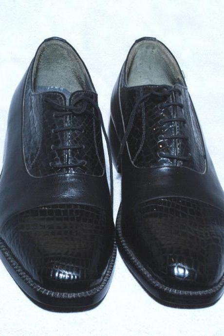 Handmade Mens Black Color Oxford Leather Dress Shoes With Lace up For Men