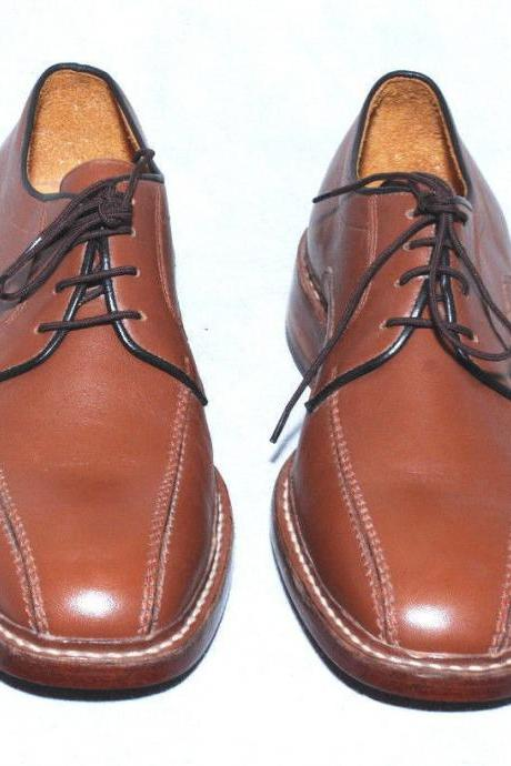 Handmade Mens Brown Oxford Style Derby Leather Dress Shoes