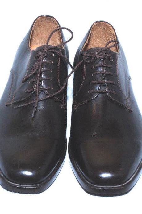 Handmade Mens Black Color Derby Leather Dress Shoes With Lace up for Mens