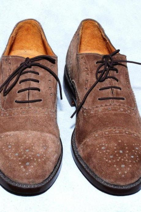 Handmade Mens Brown Oxford Suede Leather Fashion Formal Dress Shoes Boots