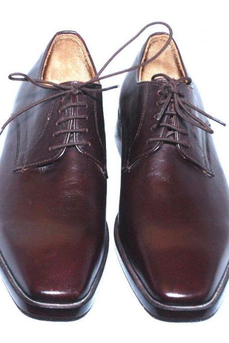 Handmade Mens Brown Derby Loafers Pure Leather Dress Shoes For Men