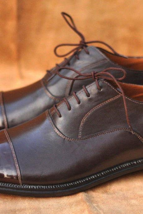 Handmade Mens Brown Oxfords Leather Formal Dress Shoes For Men