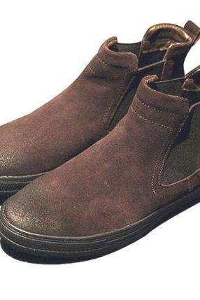 Handmade Mens Brown Chelsa Suede Leather Sole Boots For Men