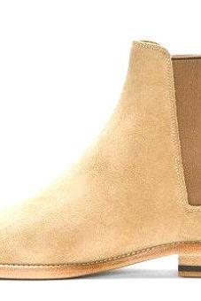 Handmade Mens Chelsea Beige Suede Leather Boots With Side Slip On For Men