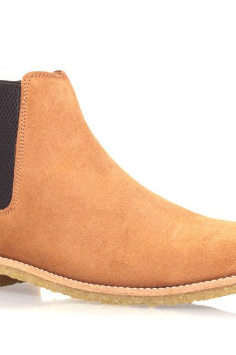 Handmade Mens Light Brown Chelsea Suede Leather Boots With Slip On For Men