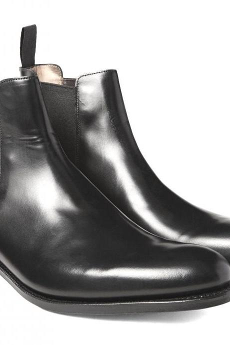 Handmade Mens Black Chelsea Leather Boots Shoes With Slip On For Men