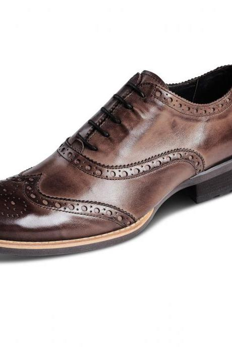 Handmade MENS Antique Brown Oxford Brogues Leather Sole Dress Shoes With Double Color Shade For Men