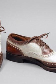 Handmade MENS Oxford Brogues Brown and white Color Dress Shoes LeatherSole Made With laces For Men
