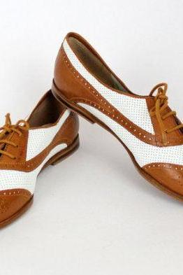 Handmade MENS Brown And white Brogues Derby Perforated Leather Sole Flat Sole Shoes For Men